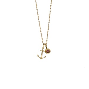 hope anchor birthstone charm necklace