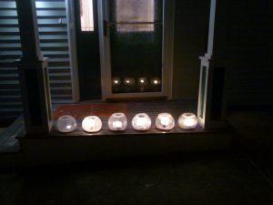 Ice Lanterns on front stoop