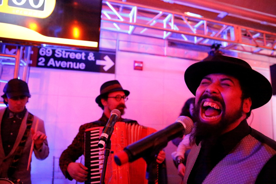 The Sunnyside Social Club performs at the celebration for the completion of the Second Avenue Subway in Manhattan