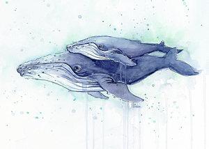 whales-humpback-watercolor-mom-and-baby-olga-shvartsur