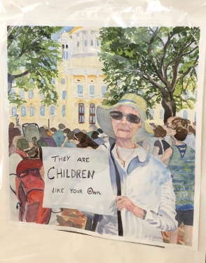 Diana-Clymer-painting-of-blogger-in-June-2018-RI-Statehouse