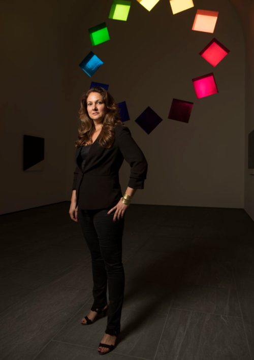 Blanton Museum's Simone Wicha inside the Ellsworth Kelly installation, Austin.